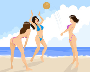 Three girls playing volleyball