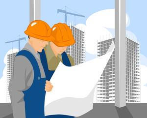 Two builders look on plan