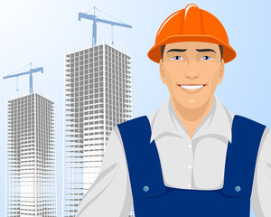 Builder on skyscrapers background