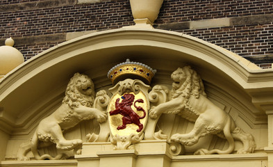 red lion statue - one the National emblem in The Hague, Netherla