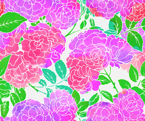 Seamless pattern with pink bush roses