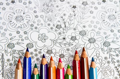 Lapices De Colores Sobre Dibujo De Flores Sin Color Stock Photo And
