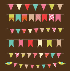 Party Flags Set Vector Illustration