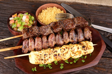 Beef, Mozzarella and Chicken Hearts Kebabs