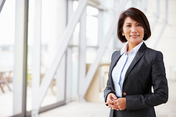 Portrait of smiling Asian businesswoman, standing