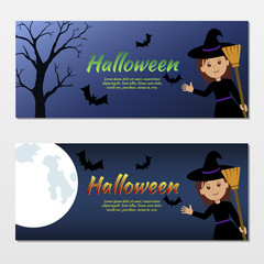 Collection  of invitations Halloween with a cute witch.