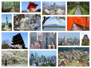 Japan places - photo collage