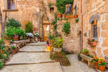 Uliczka 3D w starym grodzkim Tuscany Włochy