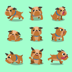 Cartoon character bulldog poses
