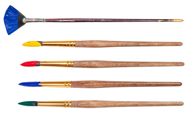 set of round art paintbrushes with painted tips