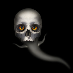 Fototapete - Hungry ghost with evil eyes looking to you from deep grave. Picture on Halloweens theme.