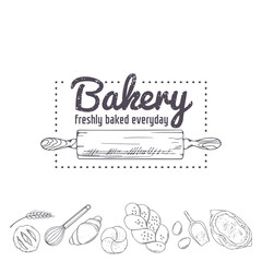 Bakery logo template. Hand drawn rolling pin and baking for your design. Sketched illustration