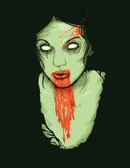 Vector Illustrator of Female Zombie Girl
