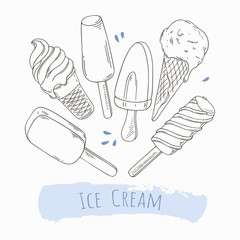 Set of hand drawn different ice cream. Doodle illustration