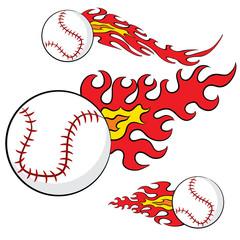 Abstract Baseball Flames Set