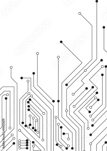 Vector : Circle circuit board on white background\