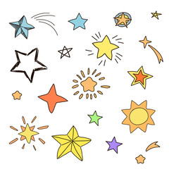 Collection of handdrawn stars in various shapes and designs
