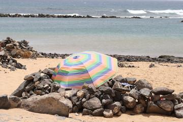 Spain, fuerteventura. Umbrella on the beach