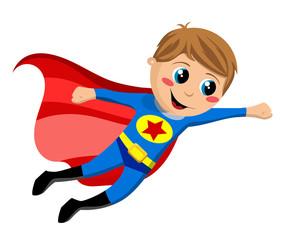 Happy Superhero kid Flying Isolated