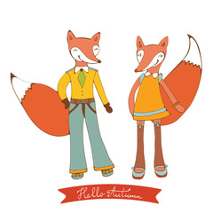 Hello autumn elegant card with cute fox characters couple