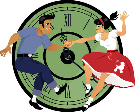 Rock around the clock. Young couple dressed in 1950s fashion dancing rock and roll, clock face on the background.