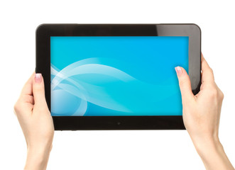 Woman hands holding tablet with blue splash screen, isolated on white