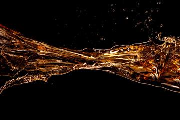 Whisky Cola wave isolated on black background