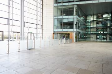 Security gates in the lobby of a large corporate business