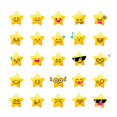 Collection of difference emoticon icon of star cartoon on the wh