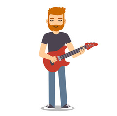 Flat cartoon guitarist