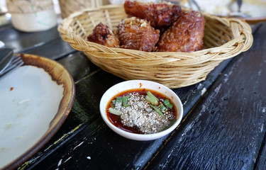 Spicy dipping sauce with rice powder