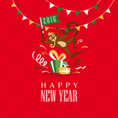 New year greeting card with monkey