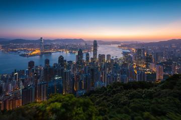 Sunrise cityscape on the peak  in Hong Kong Island.