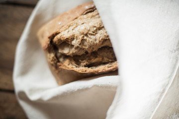 rustic bread wrapped in a linen cloth