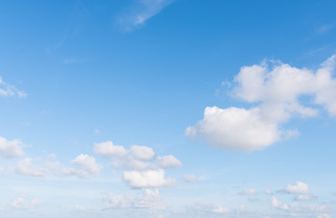 Blue sky and big white cloud background