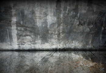 Abstract old cement room with grunge wood floor