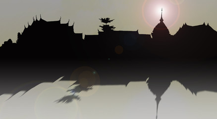 shadow or silhouette of temple or cultural place and old palace in Thailand for background picture