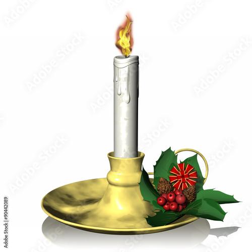 Candela agrifoglio 01 candela accesa su portacandela for Bugia candela