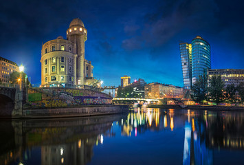 Aluminium Prints Vienna The Danube Canal in Vienna at Night with Urania and Uniqa Tower, Vienna, Austria
