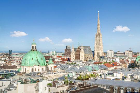 View over Vienna Skyline with St. Stephen's Cathedral, Vienna, Austria