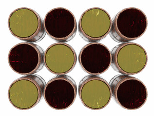 Rows of wooden barrels with alcohol on a white background, top view.