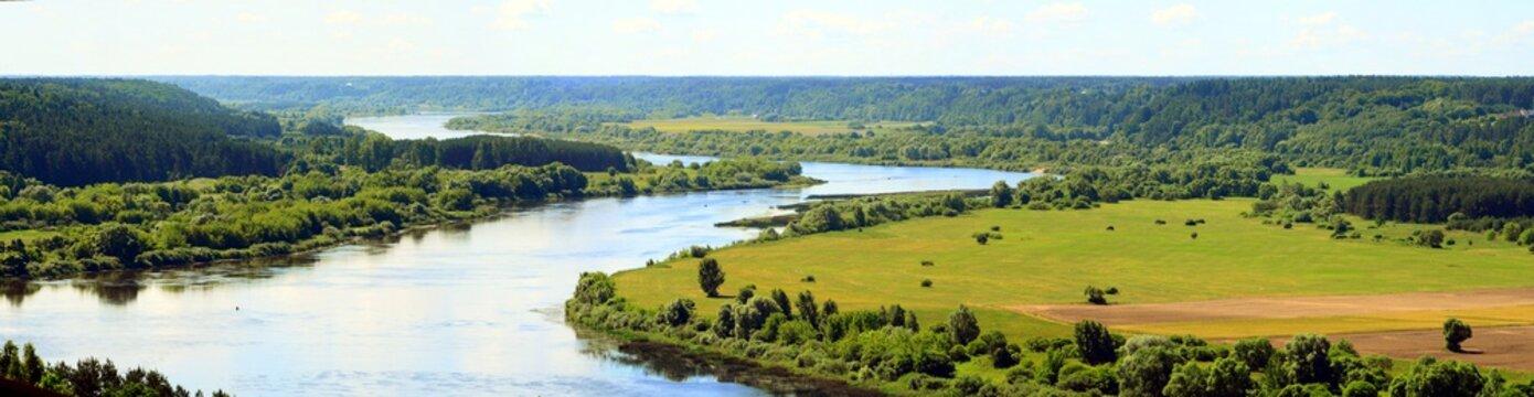 Nemunas river curve view from Vilkija church