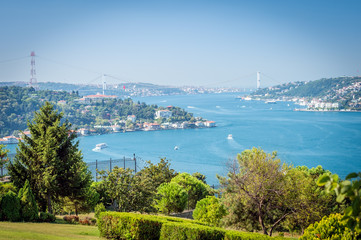 View to the Bosphorus from Otagtepe in Istanbul, Turkey