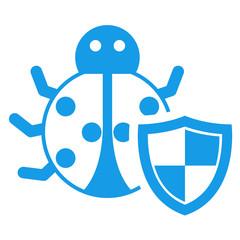 Icono aislado bicho escudo azul