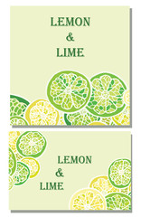 Lemon and lime vector backgrounds