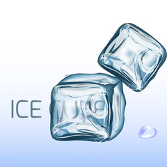 Set of four transparent ice cubes in blue colors