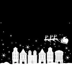 クリスマス、Christmas、街並み、モノトーン、街並み、雪景色