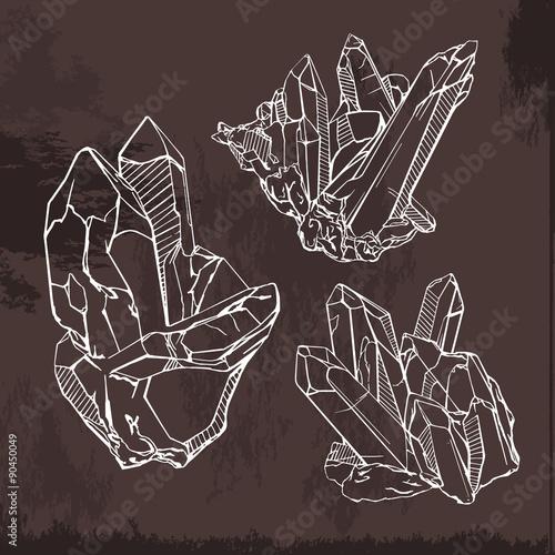 Hand drawing crystals set  Crystal gems sketch illustration