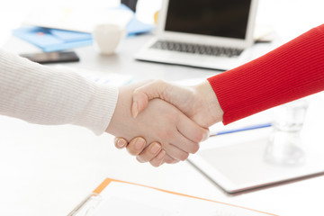 Women who are shaking hands in the office