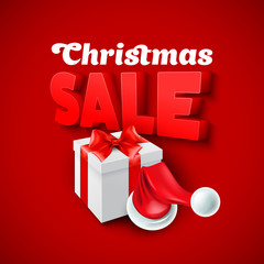 Christmas Sale with Santa hat. Vector illustration